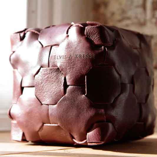 E&K-Leather Cube Door Stop-Brown