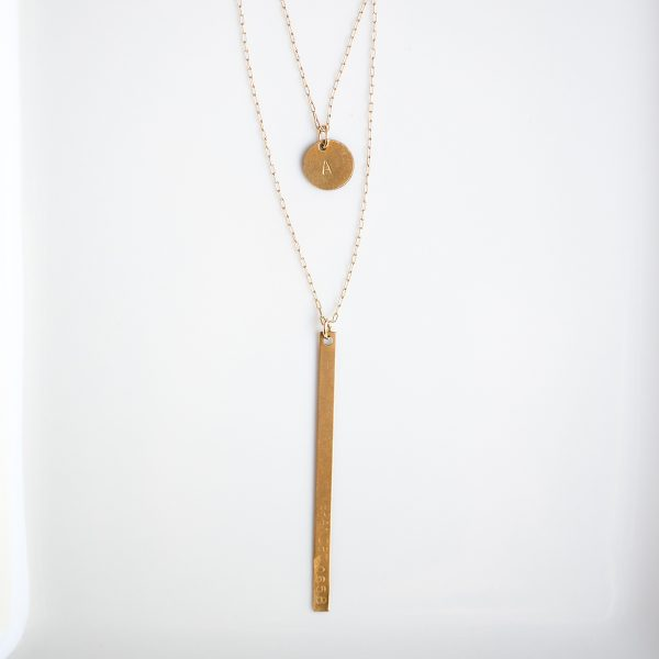 Branded Collective-Brass Layered Necklace