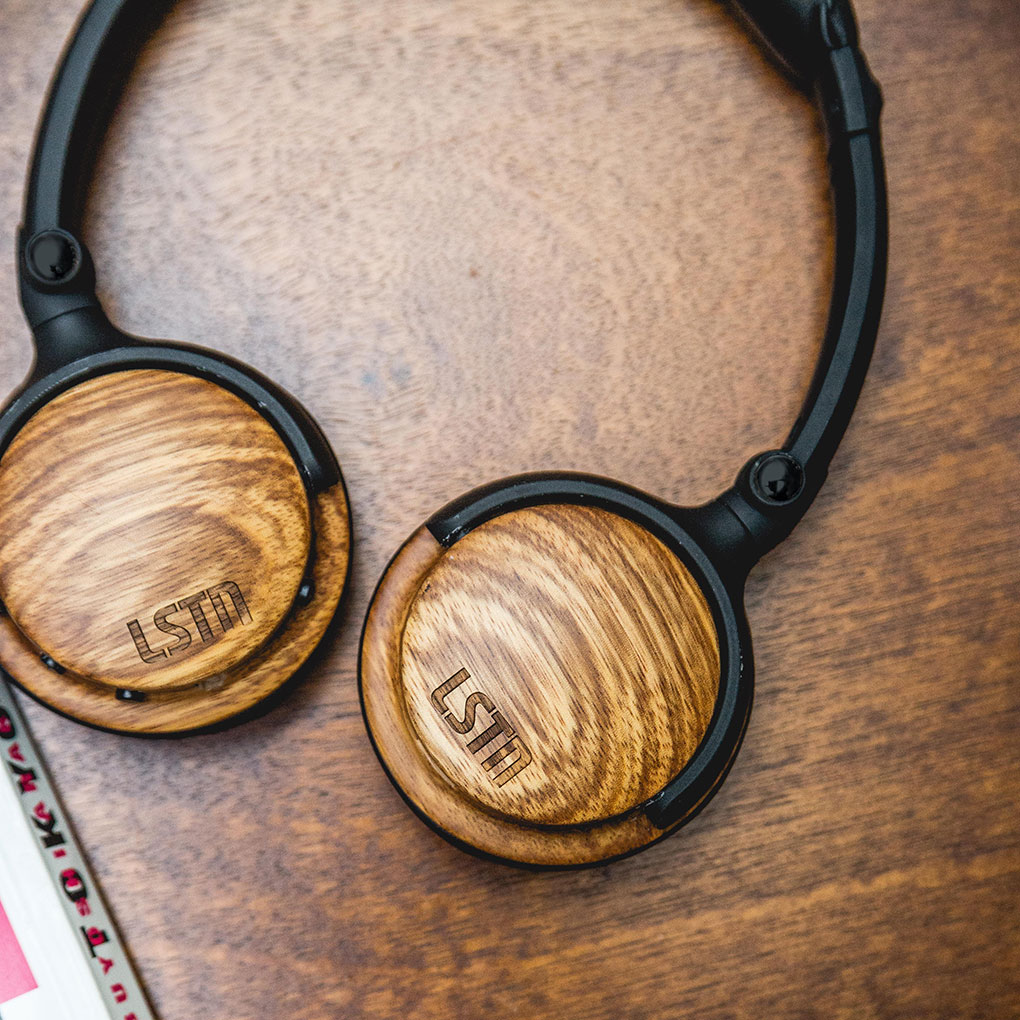 LSTN zebra wood fillmore bluetooth headphones