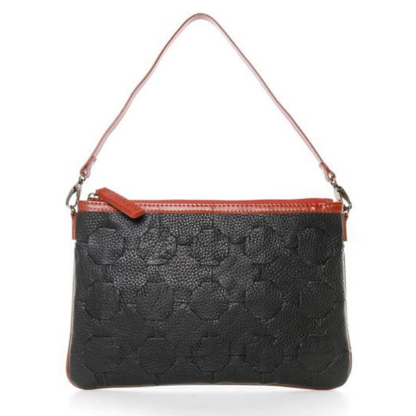 elvis and kresse fire and hide clutch in black front view