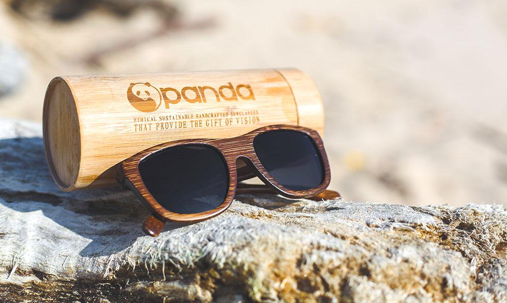 pair of Panda brand Victoria brown sunglasses on a rock