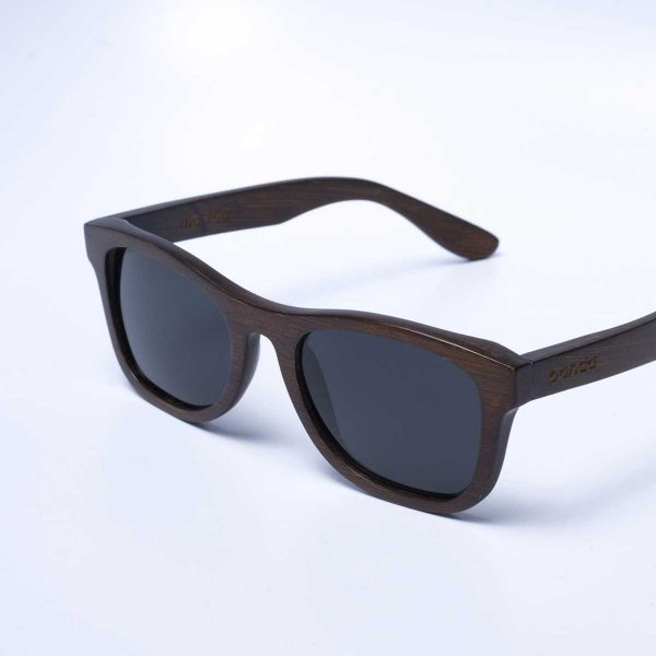panda monroe sustainably made bamboo sunglasses in brown - diagonal view