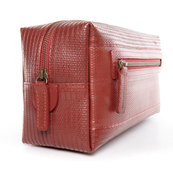 elvis and kresse ethically made firehose washbag displayed at an angle