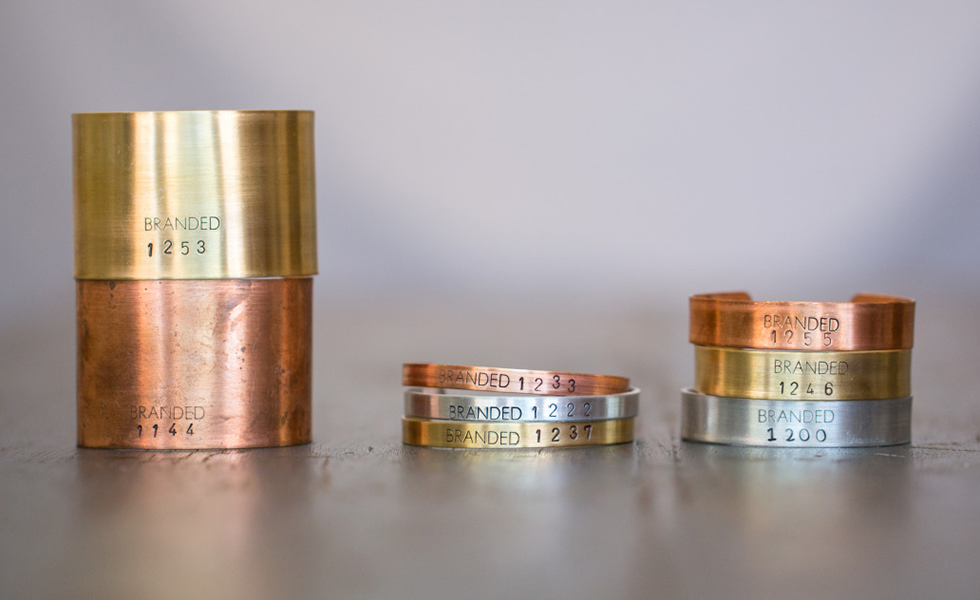 branded collective ethical jewelry in variety of sizes and metals