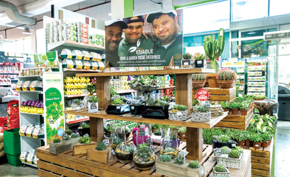 display of enable products in Dubai garden centre
