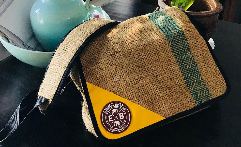 elephant branded rice sack man bag
