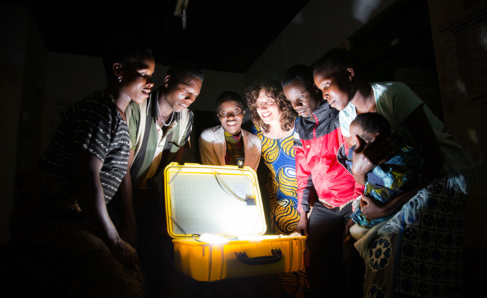 solar suitcase in use in Tanzania from we care solar