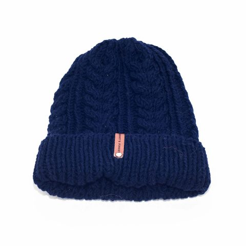 0148dae5925 ethically made granny finest Adrie beanie hat in navy blue