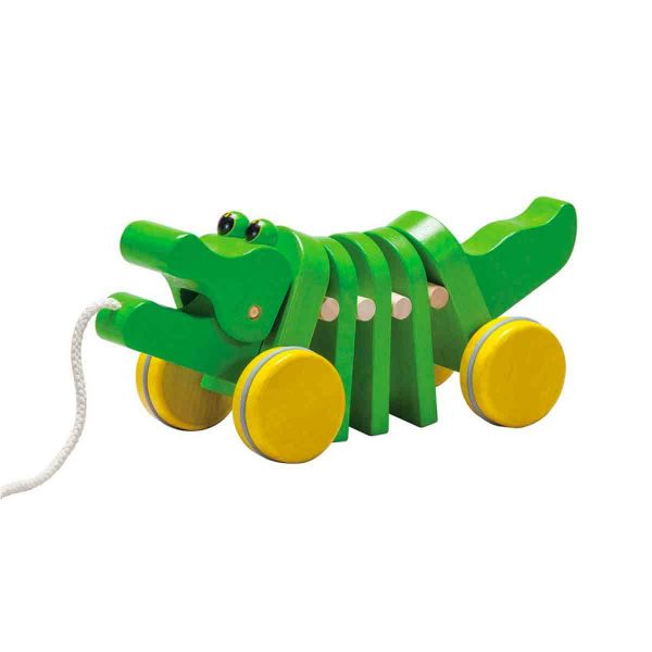 ethically and sustainably made dancing wooden alligator toy from plan toys