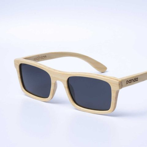 4001d3869c panda Robinson sustainably made bamboo sunglasses in natural finish -  angled view ...