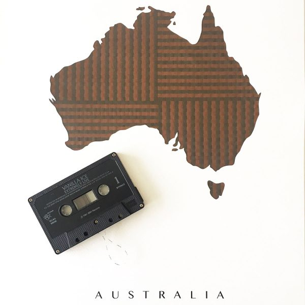map of australia poster made with cassette tape