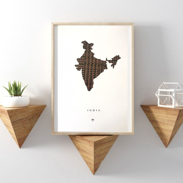 map of india poster made from discarded cassette tape