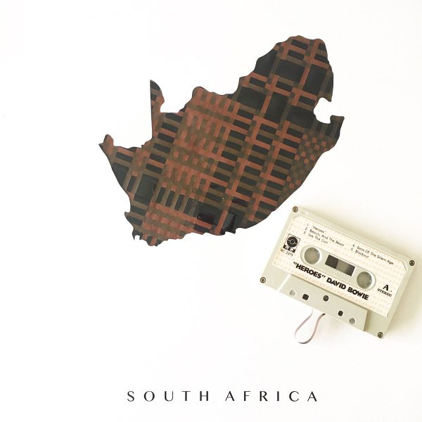 poster map of south africa made from cassette tape