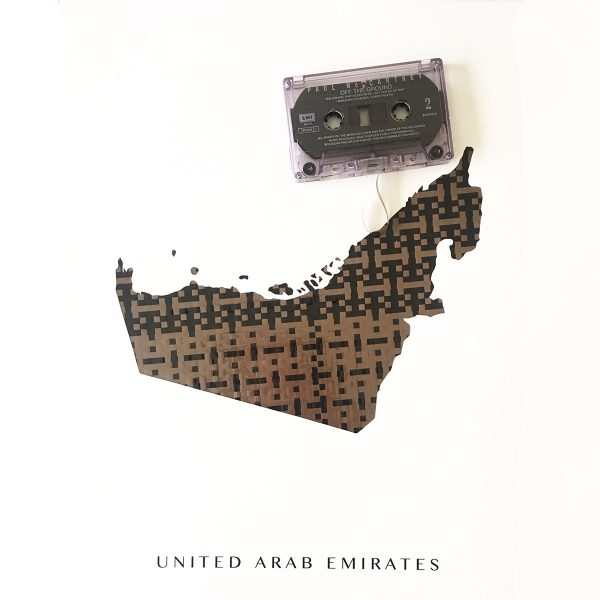 map of uae made from upcycled cassette tape