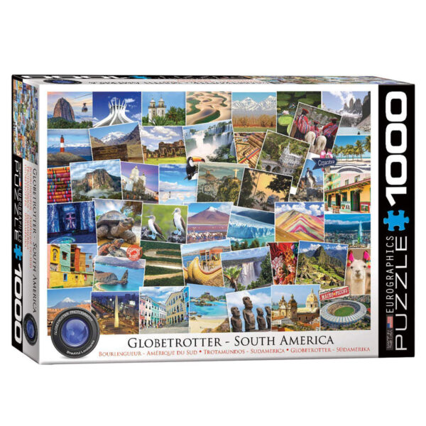 1000 piece recycled cardboard jigsaw depicting the sights of south america