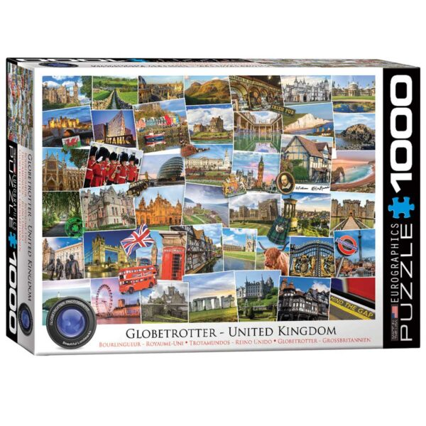 recycled cardboard 1000 piece jigsaw puzzle of UK tourist sights