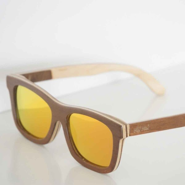sustainable and eco friendly wooden shades made from skateboards view from front angle